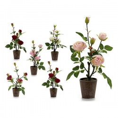 Pot Rose Plastique Fleurs 3